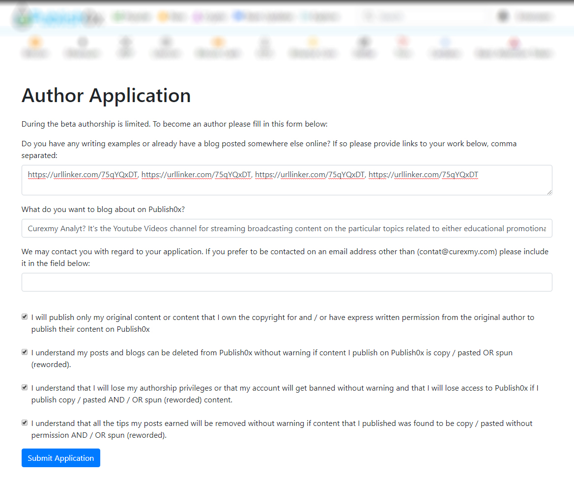 author submition at publish0x platform